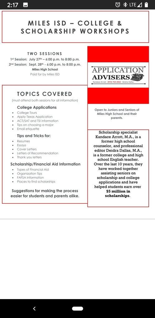College & Scholarship Flyer