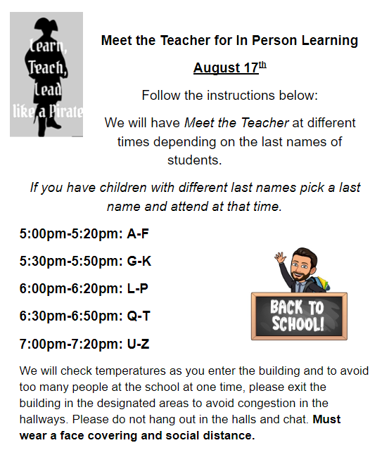 Information about Meet the Teacher