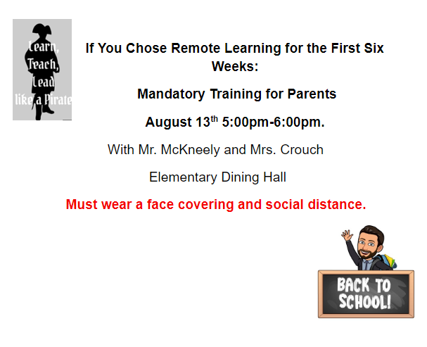 Information about Mandatory Remote Learning Meeting for First Six Weeks