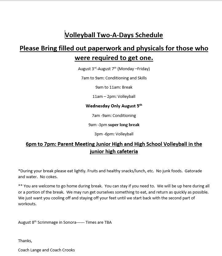 HS Volleyball Schedule