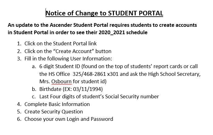 change to student portal